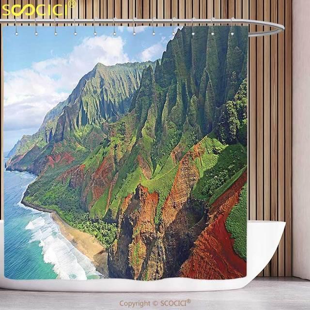 Unique Shower Curtain Hawaiian Decorations Na Pali Coast Kauai Hawaii  Seashore Greenery Adventurous Journey Landscape Scenery