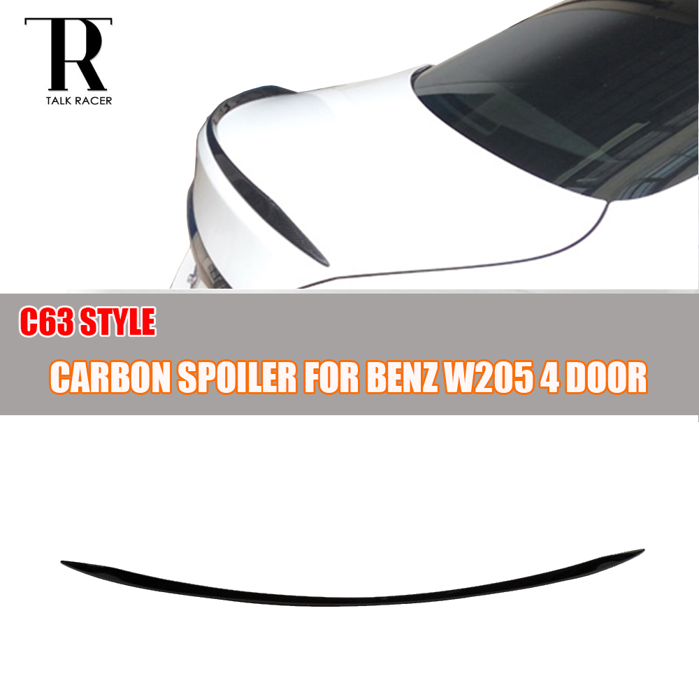 For Mercedes Benz W205 Carbon Fiber Rear Boot Lip Wing C63 Style for C180 C200 C300 C350 C63 AMG Sedan 4 Door Only 2015 - 2017
