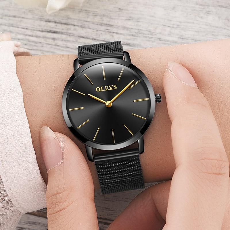 2018 OLEVS 쿼츠 브랜드 레이디 시계 여성 럭셔리 로즈 - 여성 시계