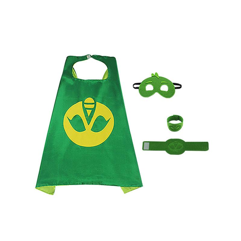 Pj Masks Costume Kids Catboy Owlette Gekko Cape With Masks Wristband Cartoon Superhero Cloak Cape Carnaval Costumes For Kids (4)