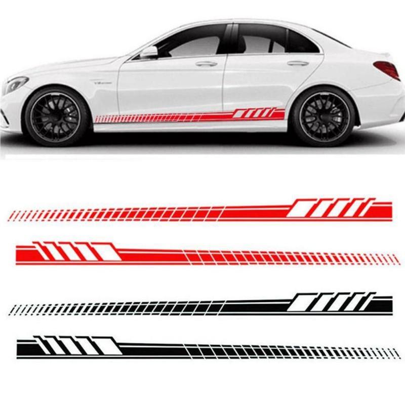 2pcs Universal Racing Body Side Stripe Hood Sticker For All Car Vinyl Bumper Decals