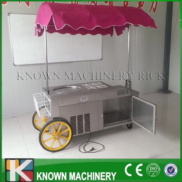 Two Wheels And Umbrella CE Certification 304 Stainless Steel Food Grade Fried Ice Cream Roll Machine (free Shipping By Sea)