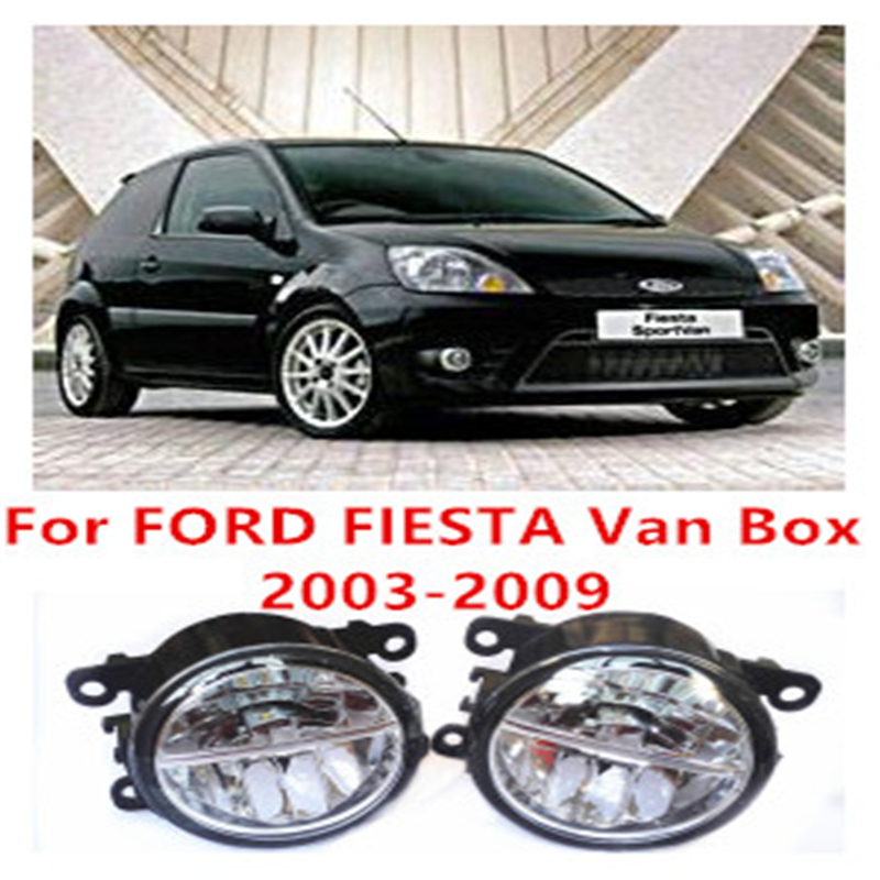 For FORD FIESTA Van Box  2003-2009  10W Fog Light LED DRL Daytime Running Lights Car Styling lamps for ford fiesta van box 2009 2015 fog lamps led car styling 10w yellow white 2016 new lights