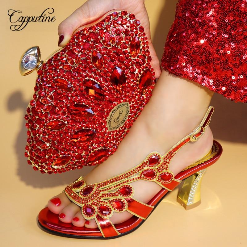 Capputine nouvelles femmes africaines conception chaussures avec sac ensemble pour mariage italien jolies pompes chaussures et sacs ensemble livraison gratuite TX-08