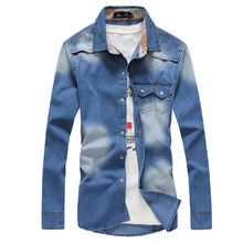 2016 Autumn Winter New Denim Shirts Double Pocket Design Fashion Casual Slim Fit Camisa Masculina Men Shirt Long-sleeved Shirt