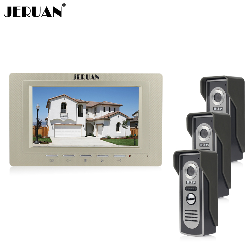 JERUAN Home 7 inch LCD screen video doorphone intercom system 1 Gold monitor +700TVL Cameras In stock FREE SHIPPING rfid keyboard ip65 waterproof video doorphone intercom system for 3 apartments with 7 color lcd video intercom system in stock