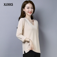 XJXKS Young Women Tee Shirt Femme Korean Ice Silk Thin Section V neck Knit Tops 2019 Spring Knitted T Shirt