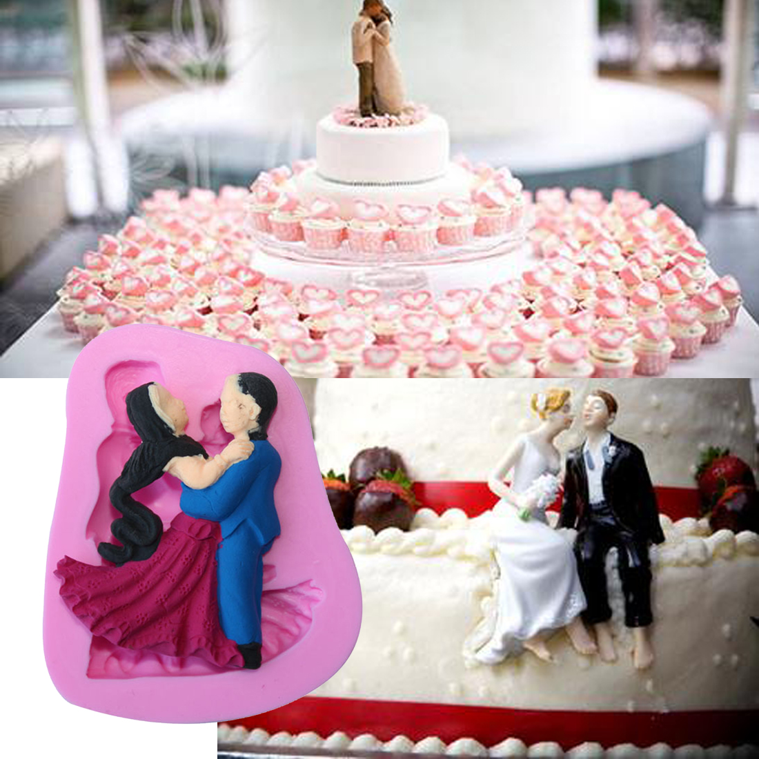 Home Wedding Dancing Lovers Bride and Groom Silicone Mold Sugarcraft ...