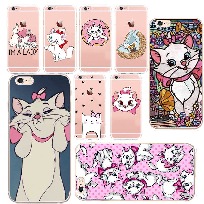 Cartoon aryskotraci marie koty kot sztywne etui etui do Apple iPhone 8 7 6 6S Plus 5 5S SE 8plus X 10 Coque Shell
