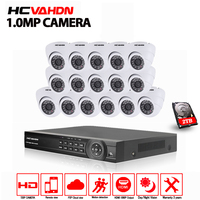 16CH 1080P نظام NVR مع 16 قطعة قبة داخلي 720p 1.0mp كاميرا IP IR 30M 16Ch CCTV نظام مراقبة الأمن 2 تيرا بايت قرص صلب