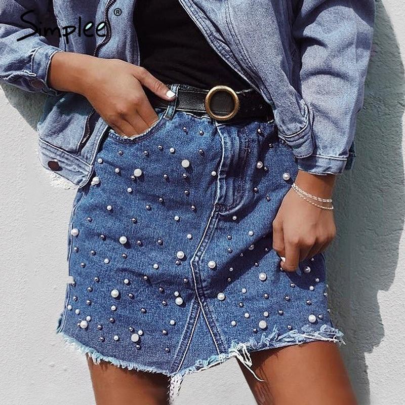 Simplee Casual Irregular Pearls Jean Skirt BT413