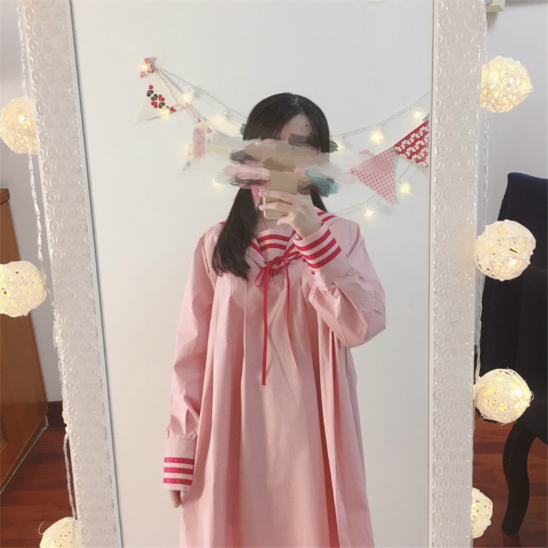 №Japanese Dress Sailor Collar Lace Up Long Sleeve Dress ...