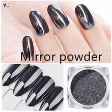 Y-XLWN 1G/BOX Magic Mirror Black Nail Glitter Powder Shining Chrome Pigment Dust DIY Nail Art Decorations