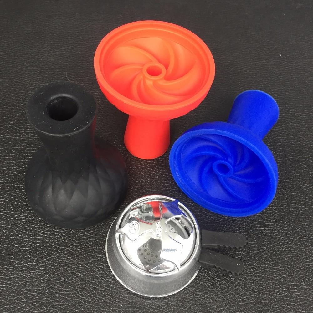 1pc Unbreakable Flower Silicon Shisha No Odor Hookah Bowl 1PC Metal Bowl Metal <font><b>Smoke</b></font> Pot Charcoal Hose Moth Hookah Accessories