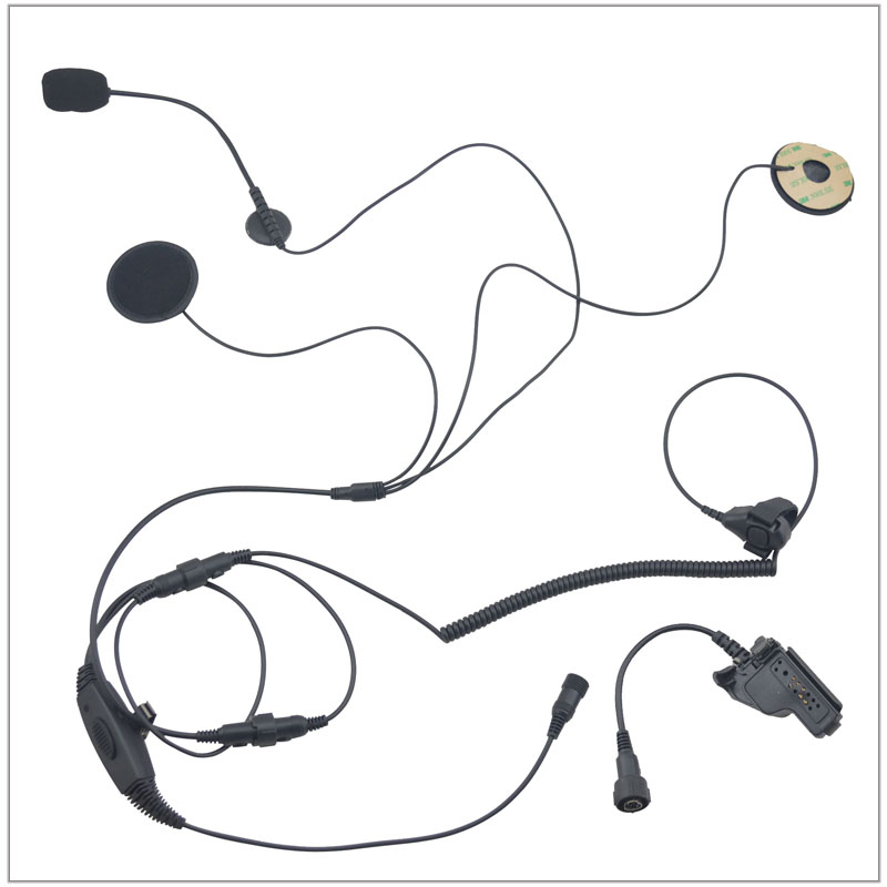 Motocycle helmet(Open-faced Helmet) headset with Finger PTT + Mini Din Plug 44-HT for Motorola HT1000 XTS3000 MTS2000 MTX8000