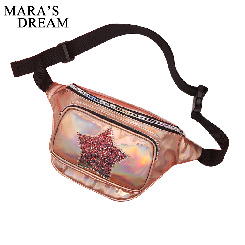 Mara's Dream New Fanny Pack Girl Bag Waist Bag Heart Star Women Travel Handbags Beach Shoulder Bag Laser Holographic Pouch Belt