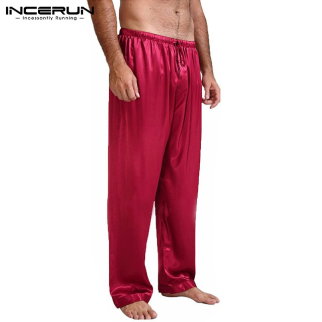 INCERUN Hot Sale Men Silk Satin Pajamas Sleep Bottoms Pyjamas Loose Lounge Pants Casual Leisure Lantern Pants Plus Size S-3XL