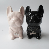 Ceramic Puppy Ornaments Handicrafts Mini Creative Cute Home Accessories Fighting Cattle Animals Decorations