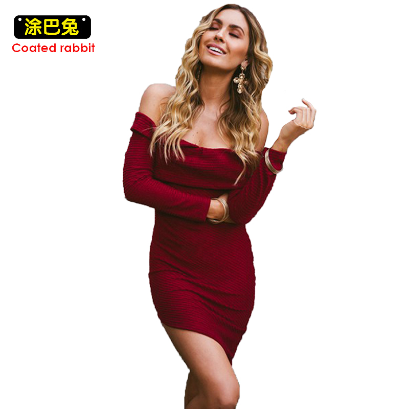 Women Slash Neck Knitted Dress Off The Shoulder Sexy Bodycon Mini Dress Stretch Slim Thick Autumn Winter Dress Female Party Club casual off the shoulder round neck striped women s dress