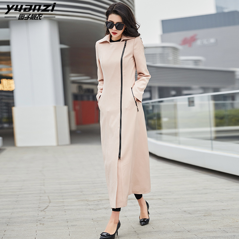 Spring Autumn Women's Clothing Beige   Trench   Coat For Women Slim Long Coats Ladies Zipper 2 Pockets Turn-down Collar Overcoat