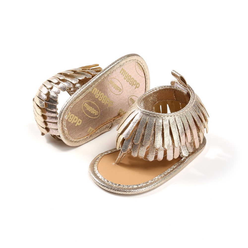 Fashion Tassel Summer Baby Girl Boy Shoes PU Soft Sole Casual Sandals Clamp Toddlers For 0-18 Months Baby Girl