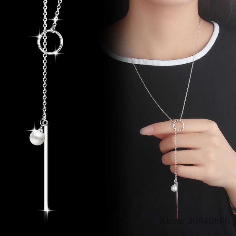 925 فضة مجوهرات اللؤلؤ دائرة قطاع سلسلة طويلة المعلقات و القلائد للنساء collares S-N49