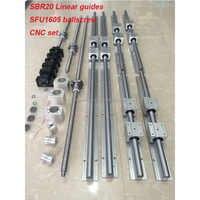 SBR20 linear guide rail 6 sets SBR20 - 400/1000/1500mm + SFU1605 - 450/1050/1550mm ballscrew +BK/BF12+Nut housing cnc parts