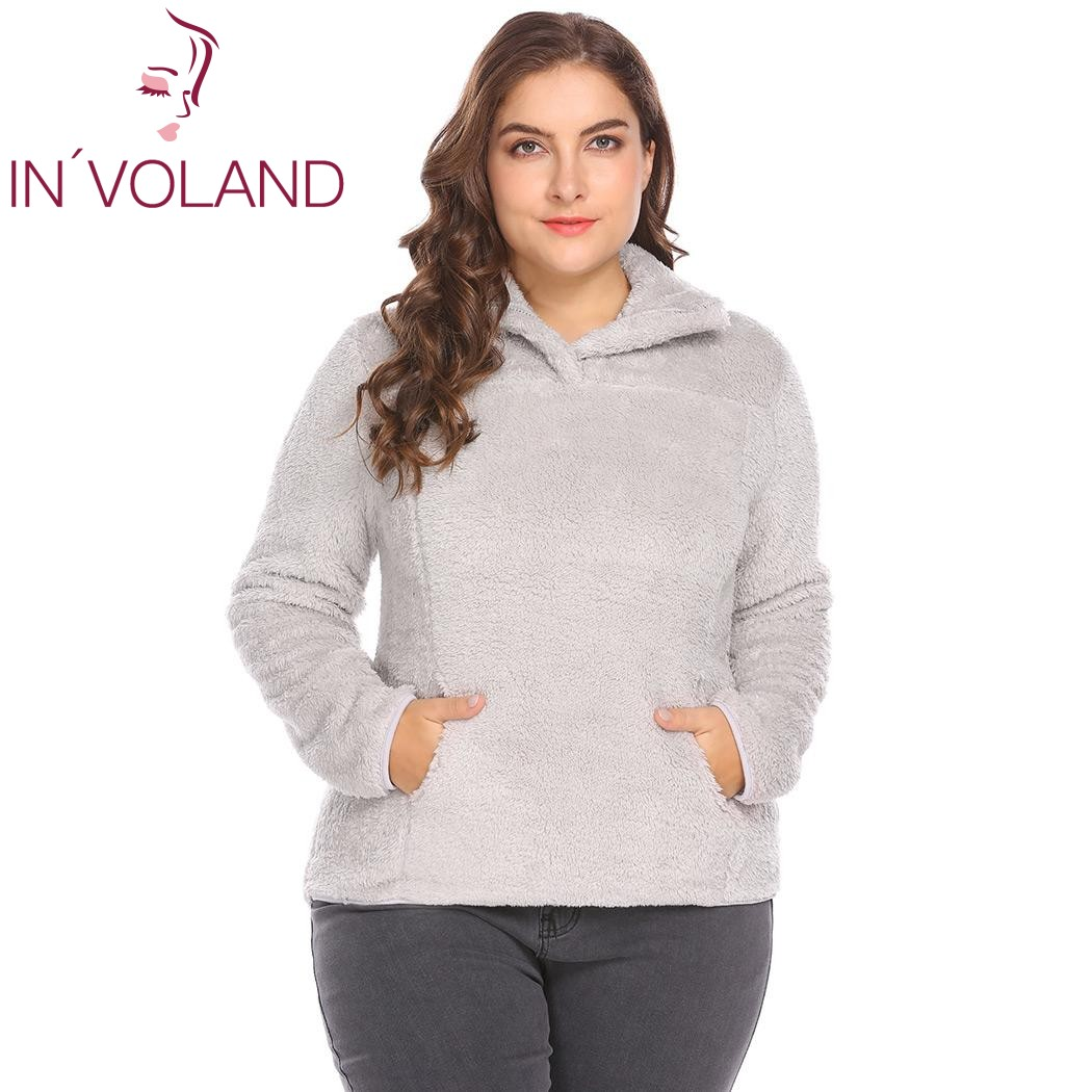 IN'VOLAND Plus Tailles XL-5XL Femmes Chandail Tops Automne Hiver Zip-up Stand Col À Manches Longues Polaire Grand Pull Grand taille