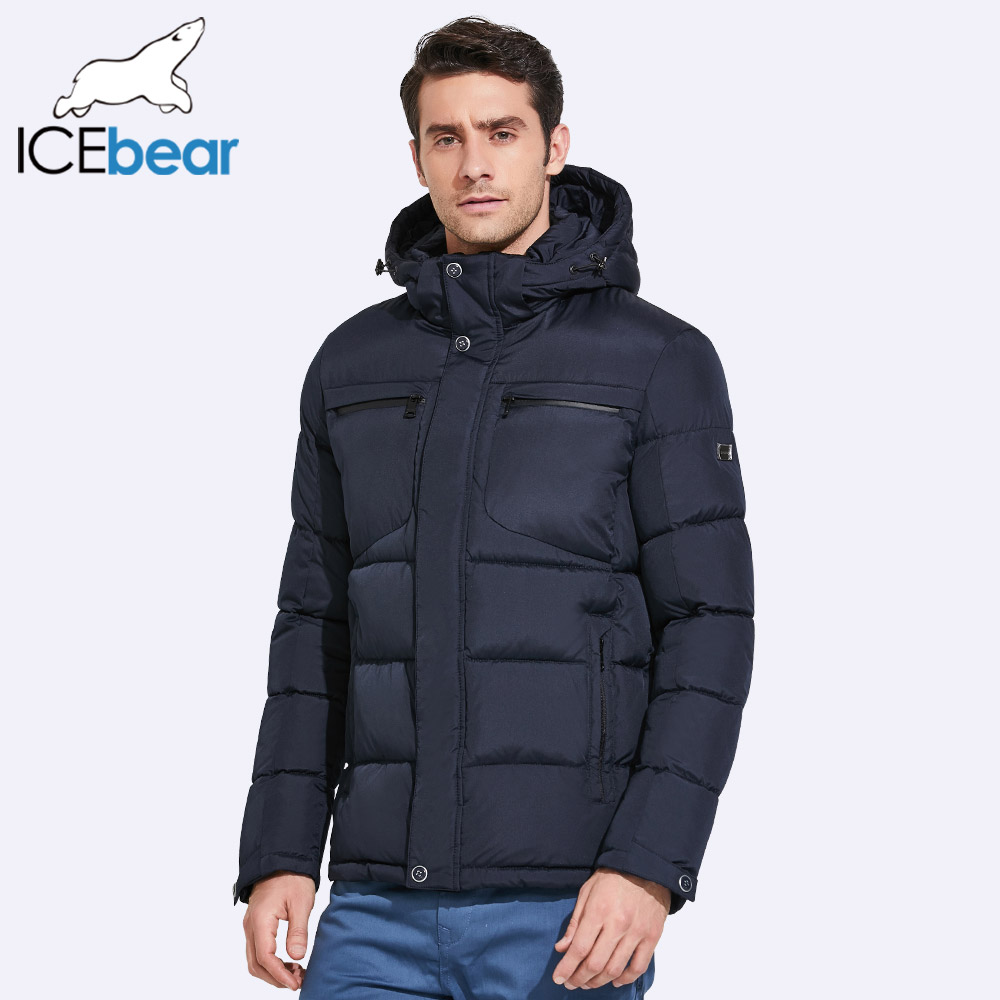 ICEbear 2019 Mens Winter Jackets Chest Exquisite Pocket Simple Hem Practical Waterproof Zipper High Quality   Parka   17MD940D