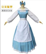 Free shipping Beauty and the Beast princess belle maid adult women Cosplay Costume Halloween party fancy Costume Suit Dress
