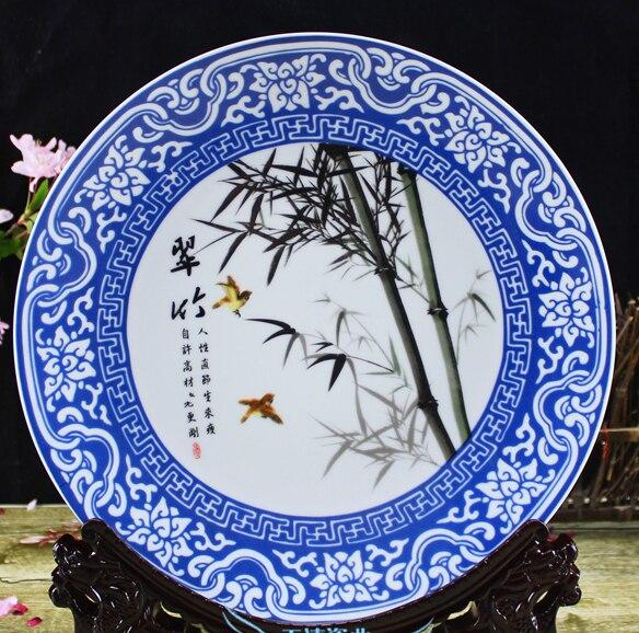 TNUKK exquis chinois fait à la main ornement bleu et blanc assiette en porcelaine, peint avec du bambou