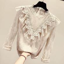 Для женщин Демисезонный Винтаж Кружевная рубашка Женская мода Элегантный сетки кружева топы Большие размеры Базовая футболка TB655