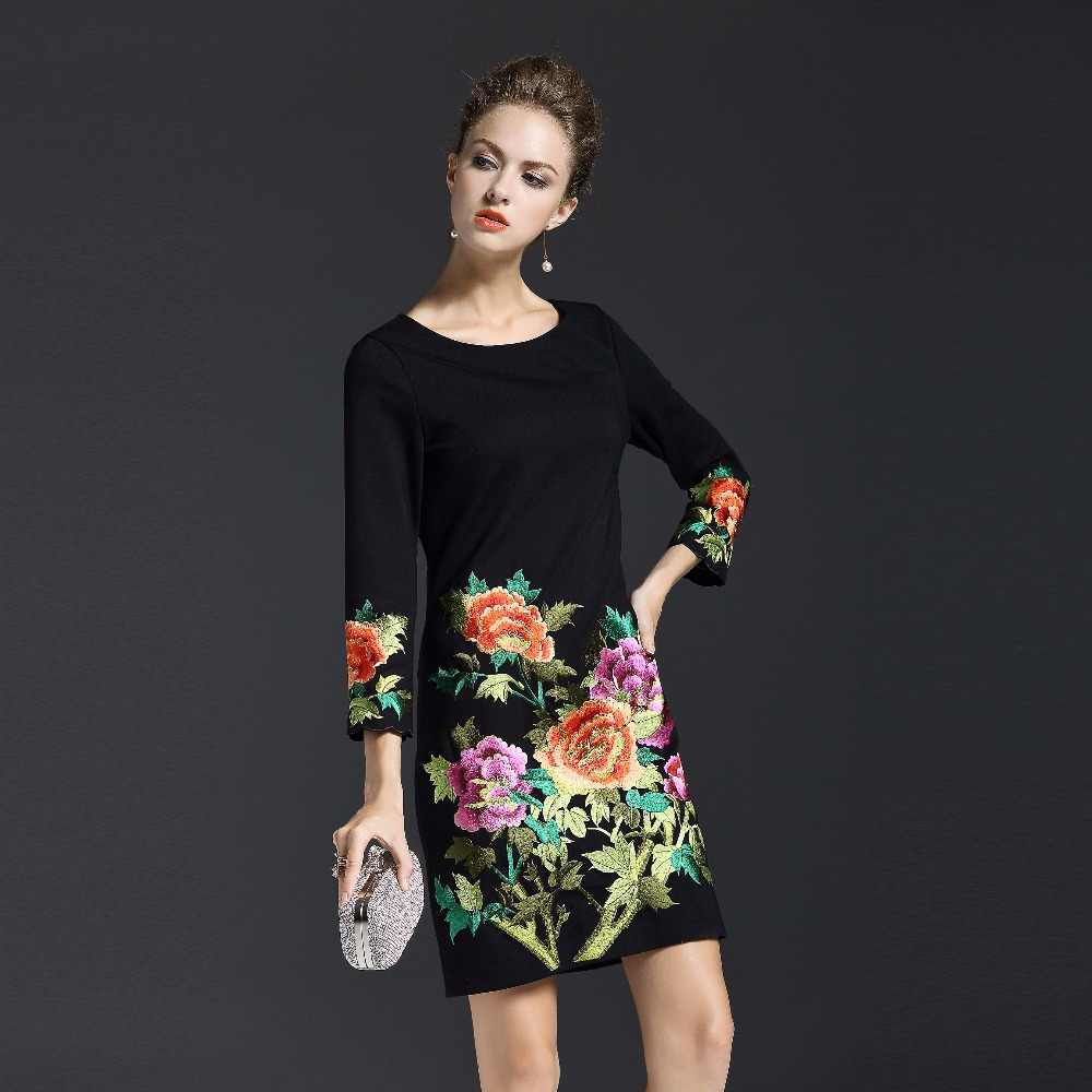 2017 Autumn Winter New Elegant Women Embroidery Floral Dress  High Quality O-Neck Slim Female Mini Dress Plus Size