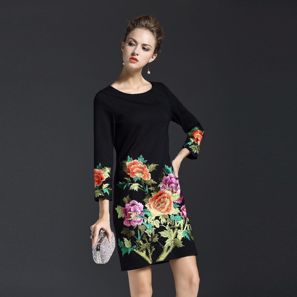 2017 Autumn Winter New Elegant Women Embroidery Floral Dress  High Quality O Neck Slim Female Mini Dress Plus Size-in Dresses from Women's Clothing    1