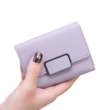 UR BOURSE New Womens Simple Short Square Wallet Ladies Three Fold Female Pu Leather Coin Purse Card Holder Small