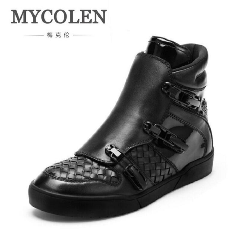 MYCOLEN Luxury Brand Genuine Leather Men Shoes Fashion Men Winter Boots Black Leather Male Boots Motocycle Boots Winter Shoes