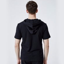 ASALI Brand Hooded Tee Men 2018 Summer Hoodies New Cotton Mens US Size Top Tees Men Solid Color Slim Fit Short Sleeve T shirt