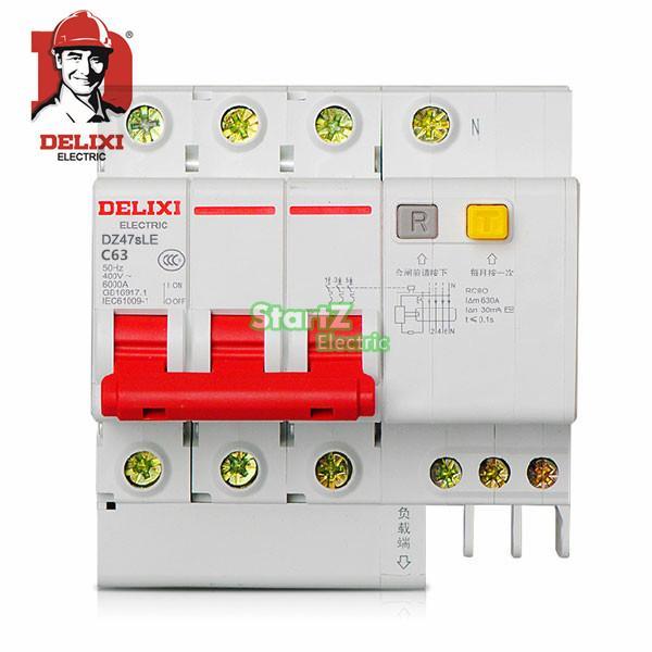 63A 3P RCBO RCD Circuit Breaker DE47LE DELIXI 63a 3 p 3 p n rcbo rcd выключателя de47le delxi