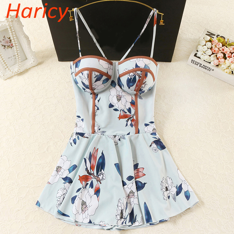 2018 Sexy Plus Size Push Up Swimwear Women Printed One Piece Suits Swimsuit Dress Cross Beachwear Bathing Suit Swimwear Skirt dress women swimsuit one piece bathing suit female push up swimwear plus size 2017 new