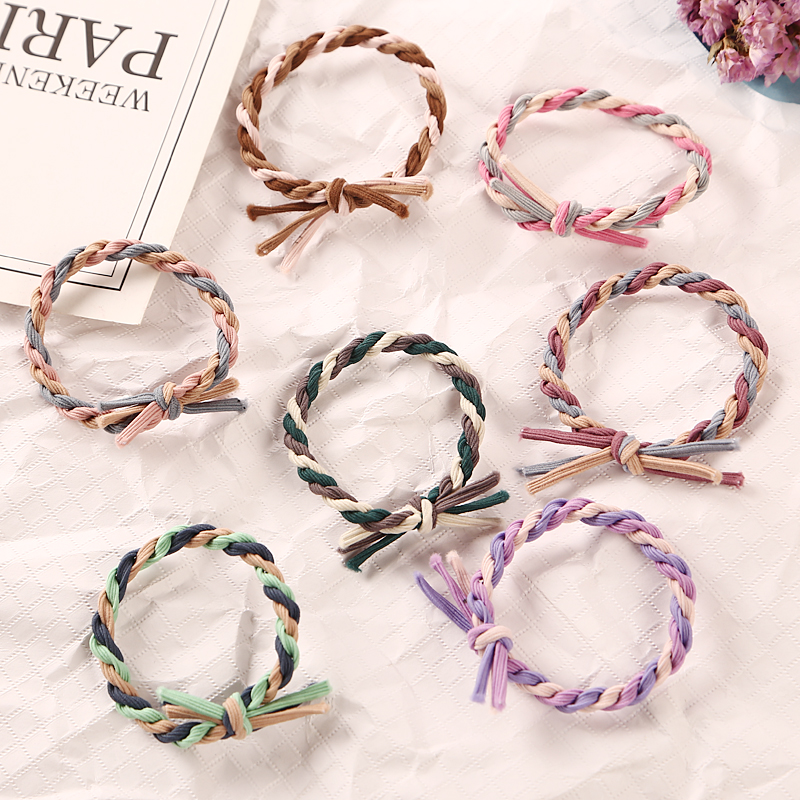 1PC Fashion Handmade Woven Colorful Elastic Rubber Band Hair Band Rope   Headwear   Ponytail Hair Accessories Girl Women Tie Gum