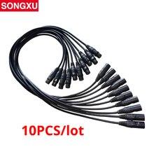 10pc kabel DMX 3.5ft XLR 1 metr 3pin połączenie sygnału ekranowany XLR męski na żeński dla ruchoma głowica Fogger par może/SX AC008