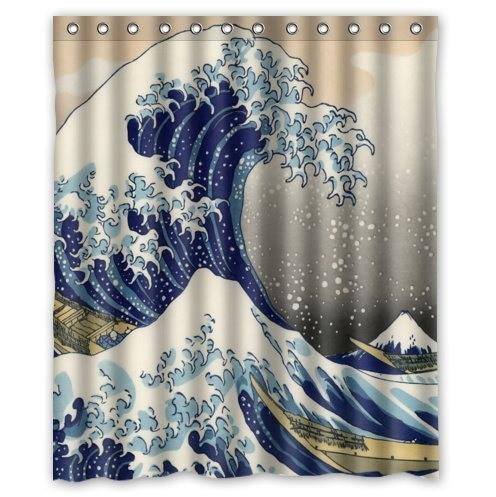 classique japonais la grande vague de kanagawa motif deco 100 polyester rideau de douche 60 de large x 72 de long