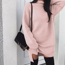 Autumn Winter Warm Knitted Dress Women Turtleneck Long Sleeve Loose Sweater Dress Fashion Casual Solid Mini Dresses Vestido цены