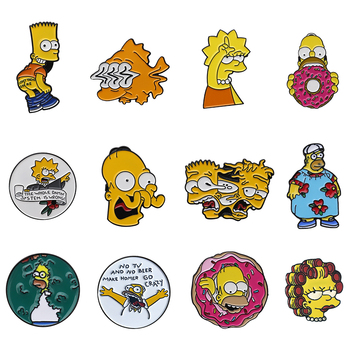 Family Life Enamel Pins Lisa Homer Jay Marge Kirk Cartoon Character Meme Brooch Pin Gift for Kid Friend Creative Clothes Bag image