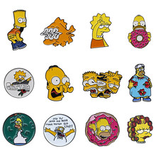 The Simpsons Enamel Pins Lisa Homer Jay Marge Kirk Cartoon Character Meme Brooch Pin Gift for Kid Friend Creative Clothes Bag Jewelry(China)