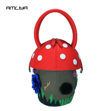 Фотография New Style Personality Design Mushroom Shape Women Handbag Brand Ladies Three-Dimensional Round Top-Handle Bags