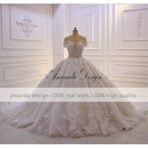 Image 2 - Robe mariage fora do ombro manga curta rendas apliques 3d flor vestido de casamento luxo