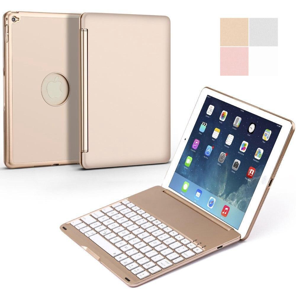 para Ipad Mini Teclado de Alumínio sem Fio Bluetooth da Tampa do Case 2 em 1 7 Cores Led Retroiluminado Backlight Fino Clamshell Inteligente 2 – 3 4 5