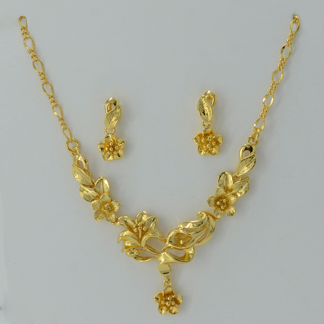 Gold Flower set Jewelry Necklace Pendant Earrings Plant Gold Plated