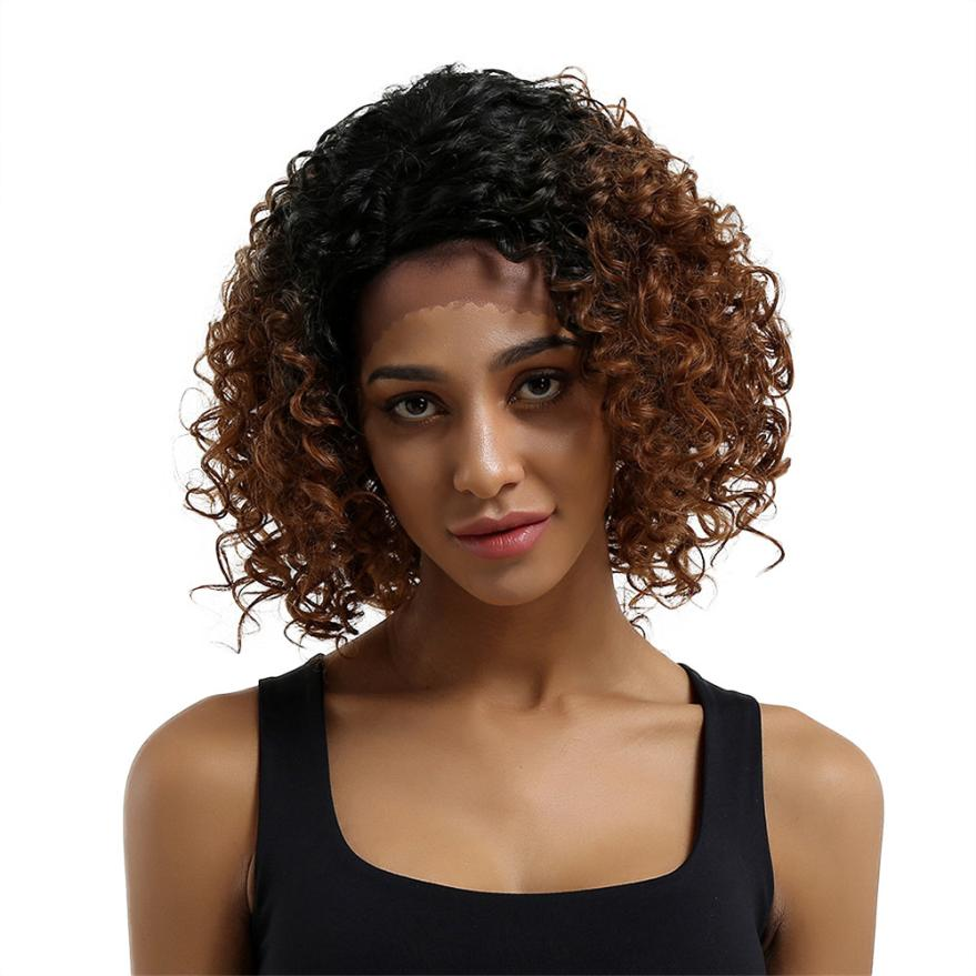 Womens Fashion Glueless Resistant Lace Front Women Brown Curls Hair Full Wig 0702